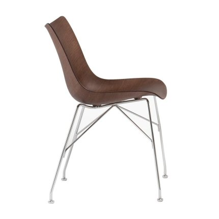 Scaun Kartell Smart Wood P/Wood design Philippe Stark, Basic Veneer, Dark wood, picioare crom
