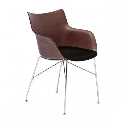 Scaun Kartell Smart Wood Q/Wood design Philippe Stark, Basic Veneer, Dark wood - sezut negru, picioare crom