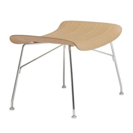 Taburet Kartell Smart Wood S/Wood design Philippe Stark, Basic Veneer, Light wood, picioare crom