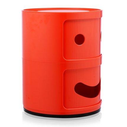 Comoda modulara Kartell Componibili 2 Smile Happy, design Anna Castelli Ferrieri, rosu