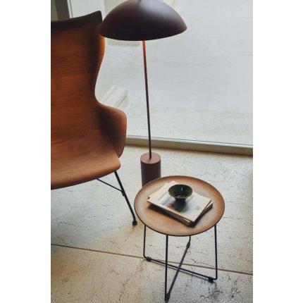 Masuta Kartell Al Wood design Philippe Stark, d40cm, h45.5cm, frasin, baza negru, lemn inchis