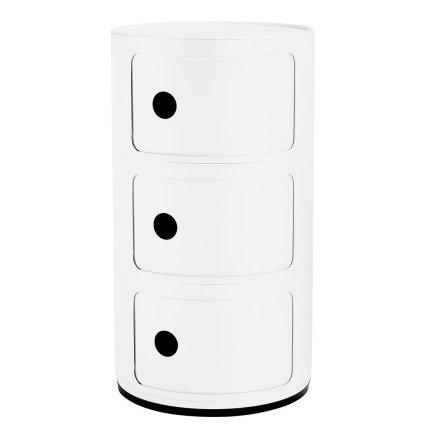 Comoda modulara Kartell Componibili 3 design Anna Castelli Ferrieri, alb mat