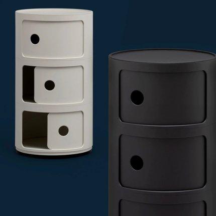 Comoda modulara Kartell Componibili 2 design Anna Castelli Ferrieri, alb mat