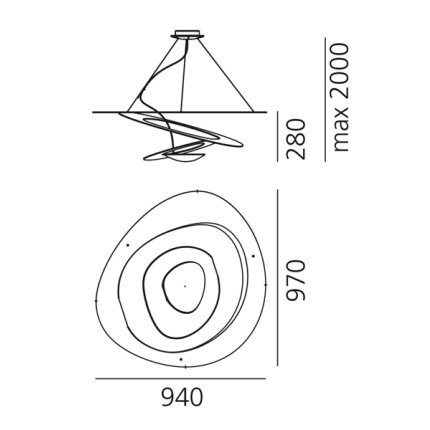 Suspensie Artemide Pirce design Giuseppe Maurizio Scutella, LED 44W, alb