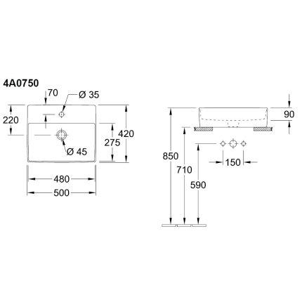 Lavoar tip bol Villeroy & Boch Memento 2.0 50x42cm, Alb Alpin