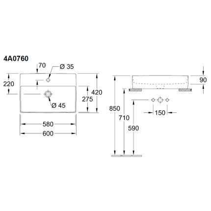 Lavoar tip bol Villeroy & Boch Memento 2.0 60x42cm, Alb Alpin