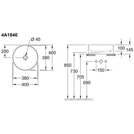 Lavoar tip bol Villeroy & Boch Collaro 40cm rotund, fara orificiu baterie, fara preaplin, alb