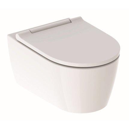 Set vas wc suspendat Geberit ONE Rimfree TurboFlush cu capac inchidere lenta si sistem QuickRelease, finisaj KeraTect