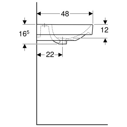 Lavoar dublu Geberit Smyle Square 120x48cm, alb