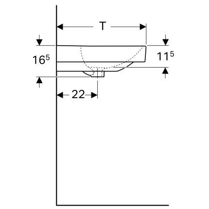 Lavoar Geberit Smyle Square 90x48cm, montare pe mobilier, alb