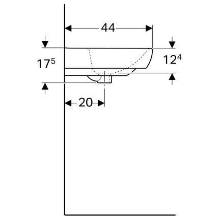 Lavoar Geberit Selnova Square 55cm, fara orificiu baterie, alb