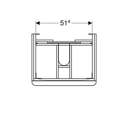 Dulap baza Geberit Smyle Square cu 2 sertare, 60cm, nuc american