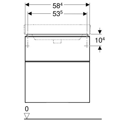 Dulap baza Geberit Smyle Square cu 2 sertare, 60cm, lava mat