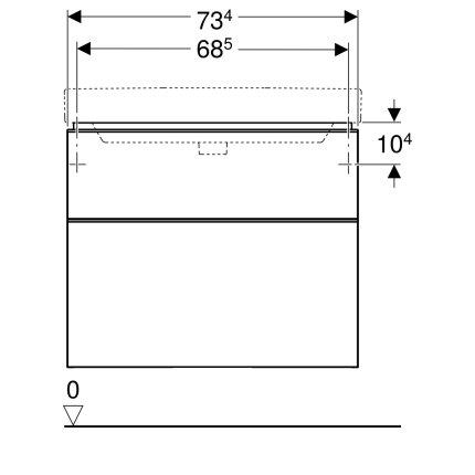 Dulap baza Geberit Smyle Square cu 2 sertare, 75cm, alb lucios
