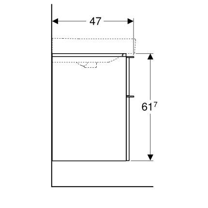 Dulap baza Geberit Smyle Square cu 2 sertare, 75cm, nuc american