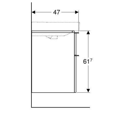 Dulap baza Geberit Smyle Square cu 2 sertare, 90cm, lava mat