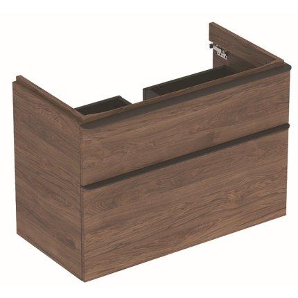 Dulap baza Geberit Smyle Square cu 2 sertare, 90cm, nuc american