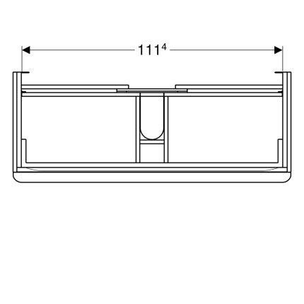 Dulap baza Geberit Smyle Square cu 2 sertare, 120cm, gri nisip lucios