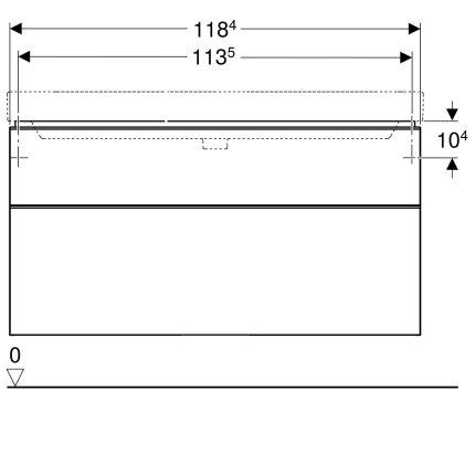 Dulap baza Geberit Smyle Square cu 2 sertare, 120cm, nuc american