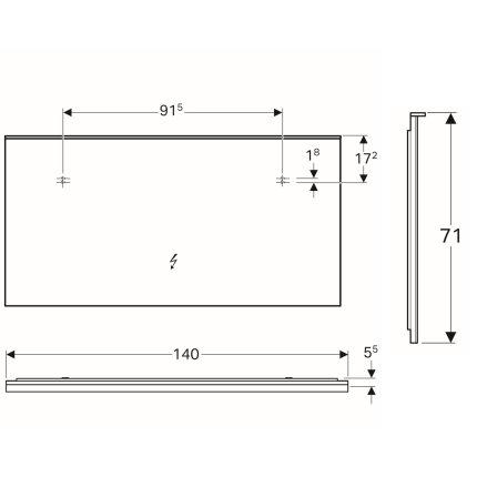 Oglinda cu iluminare indirecta Geberit Xeno2 140x71cm