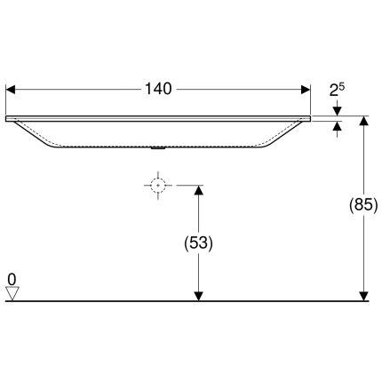 Lavoar Geberit Xeno2 140x48cm, fara orificiu baterie, fara preaplin, montare pe mobilier, alb alpin