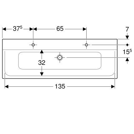Lavoar dublu Geberit Xeno2 140x48cm, doua orificii baterie, fara preaplin, montare pe mobilier, alb alpin