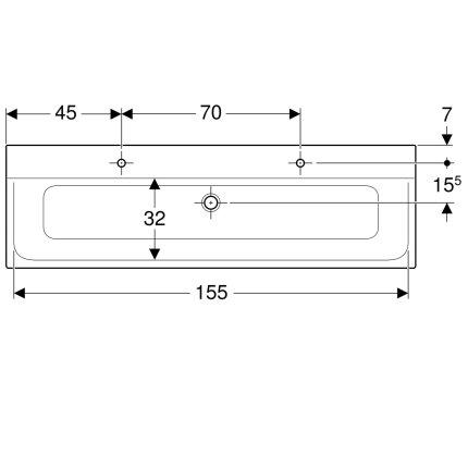 Lavoar dublu Geberit Xeno2 160x48cm, doua orificii baterie, fara preaplin, montare pe mobilier, alb alpin