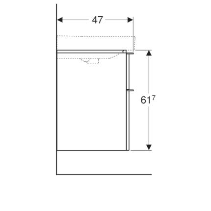 Dulap baza Geberit Smyle Square pentru lavoar dublu, 120cm, doua sertare, alb lucios