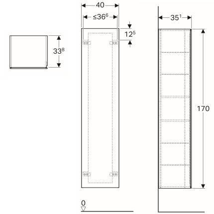 Dulap inalt Geberit Xeno2 40x35.1x170cm, cu o usa si oglinda interioara, gri structurat