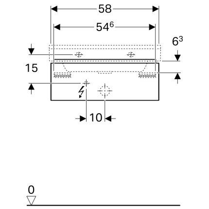 Dulap baza Geberit Xeno2 58x46.2x22cm cu un sertar, gri structurat