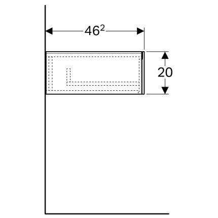 Dulap suspendat Geberit Xeno2 58x46.2x20cm cu un sertar, gri structurat