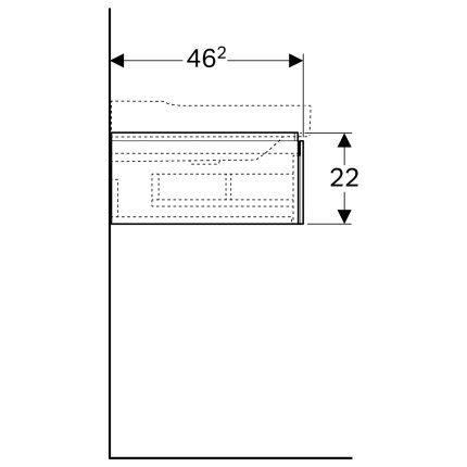 Dulap baza Geberit Xeno2 88x46.2x22cm cu un sertar, gri structurat