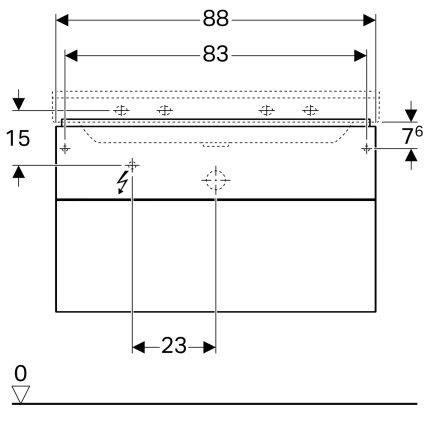 Dulap baza Geberit Xeno2 88x46.2cm, cu un sertar, greige mat