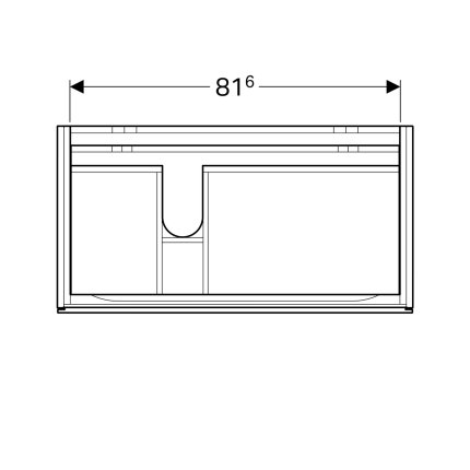 Dulap baza Geberit Xeno2 88x46.2cm decupaj sifon stanga, cu doua sertare, greige mat
