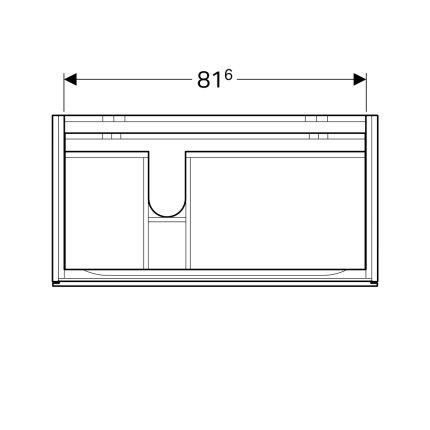 Dulap baza Geberit Xeno2 88x46.2cm decupaj sifon stanga, cu doua sertare, gri structurat