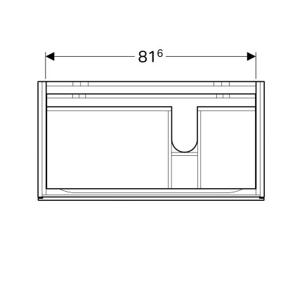 Dulap baza Geberit Xeno2 88x46.2cm decupaj sifon dreapta, cu doua sertare, greige mat