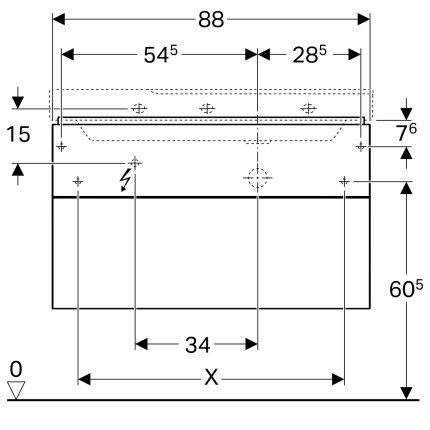 Dulap baza Geberit Xeno2 88x46.2cm decupaj sifon dreapta, cu doua sertare, alb lucios