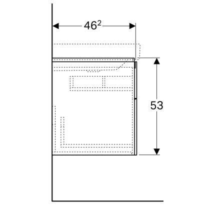 Dulap baza Geberit Xeno2 88x46.2cm decupaj sifon dreapta, cu doua sertare, gri structurat