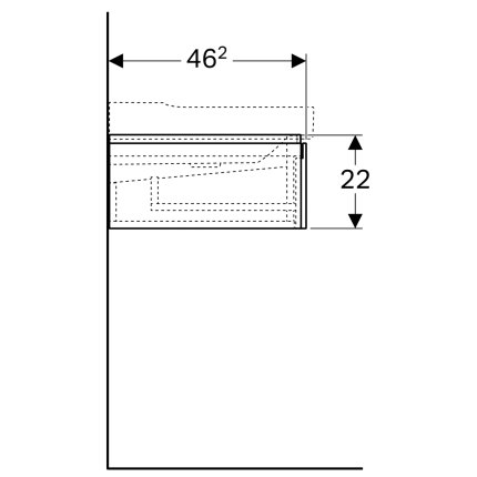 Dulap baza Geberit Xeno2 117cm cu doua sertare, greige mat