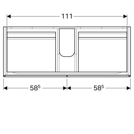 Dulap baza Geberit Xeno2 117.4cm cu patru sertare, gri structurat
