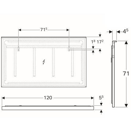 Oglinda cu iluminare indirecta Geberit Xeno2 120x71cm