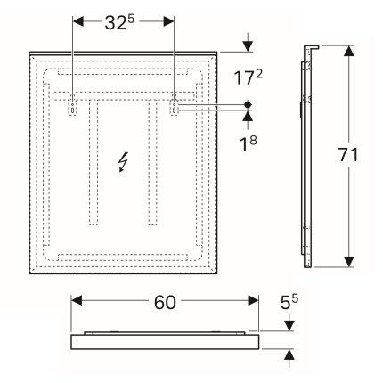 Oglinda cu iluminare indirecta Geberit Xeno2 60x71cm