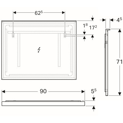 Oglinda cu iluminare indirecta Geberit Xeno2 90x71cm
