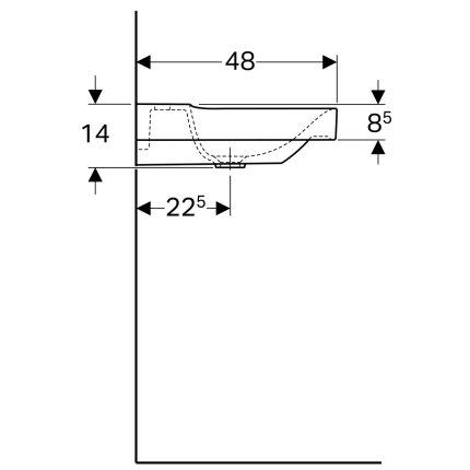 Lavoar Geberit Xeno2 90x48cm, fara preaplin, montare pe mobilier, KeraTect alb