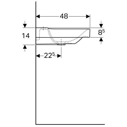 Lavoar asimetric Geberit Xeno2 90x48cm, fara preaplin, raft dreapta, KeraTect alb