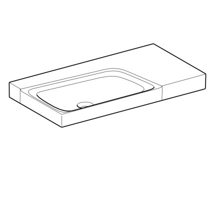 Lavoar asimetric Geberit Xeno2 90x48cm, fara orificiu baterie, fara preaplin, raft dreapta, KeraTect alb