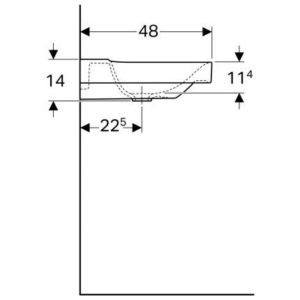Lavoar asimetric Geberit Xeno2 90x48cm, fara orificiu baterie, fara preaplin, raft stanga, KeraTect alb