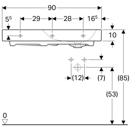 Lavoar Geberit Citterio 90x50cm, orificiu baterie dreapta, fara preaplin, montare pe mobilier, KeraTect alb