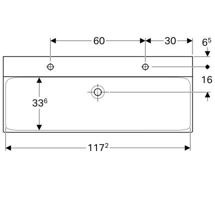 Lavoar dublu Geberit Xeno2 120x48cm, doua orificii baterie, fara preaplin, montare pe mobilier, KeraTect alb