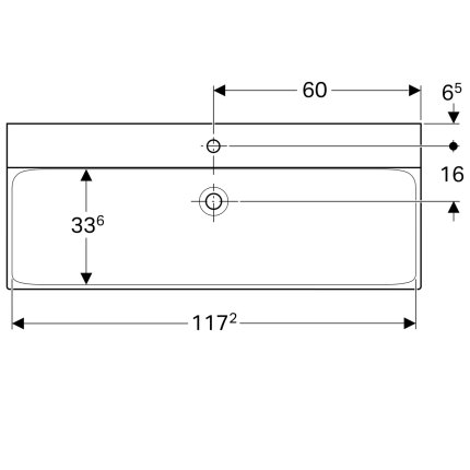 Lavoar Geberit Xeno2 120x48cm, fara preaplin, montare pe mobilier, KeraTect alb